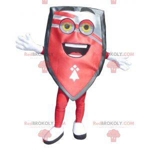 Mascote gigante com escudo vermelho e preto - Redbrokoly.com