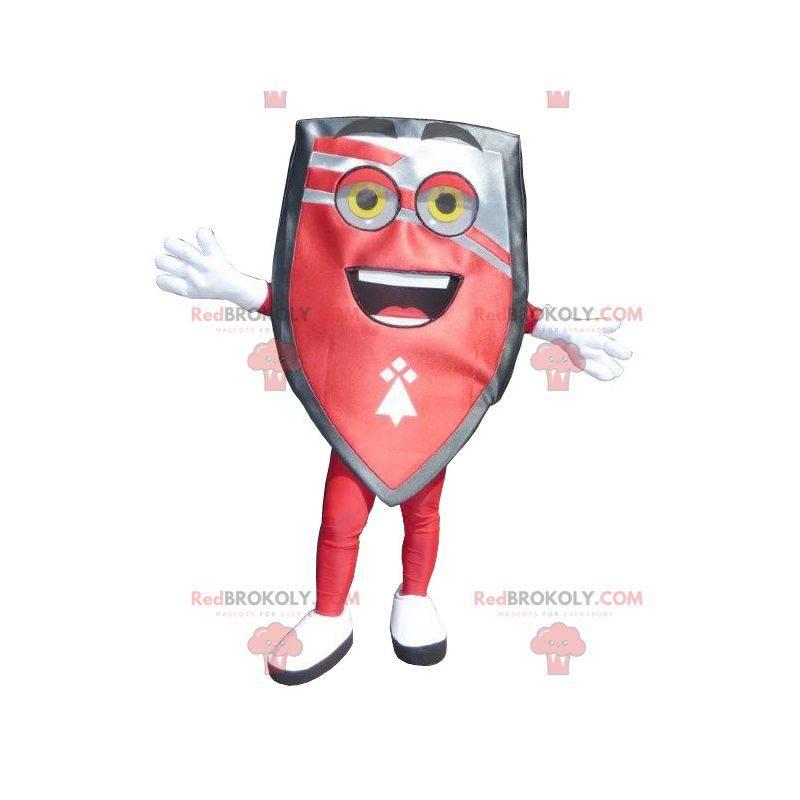 Obří černý a šedý červený maskot štítu - Redbrokoly.com
