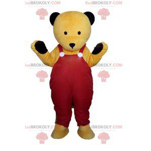 Mascot yellow teddy bear in red overalls - Redbrokoly.com