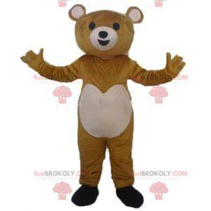 Sehr berührendes braunes und rosa Teddybärmaskottchen -