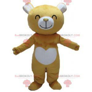 Velmi usměvavý maskot žlutého a bílého medvídka - Redbrokoly.com