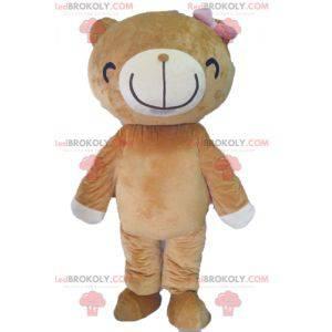 Maskottchen beige und weißer Bär mit einem breiten Lächeln -
