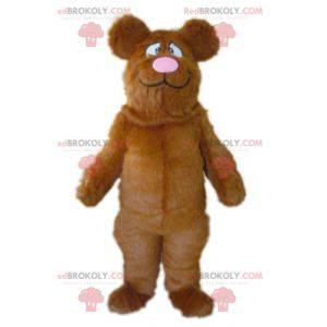 Maskot velký hnědý a růžový medvěd všichni chlupatí -