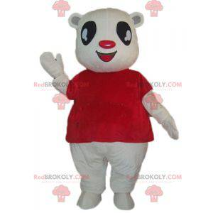 Hvit bamsmaskot med rød t-skjorte - Redbrokoly.com