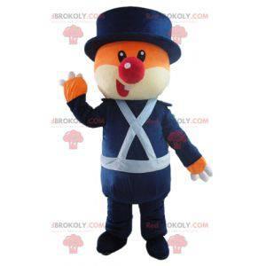 Pomarańczowo-biały miś maskotka w niebieskim mundurze -