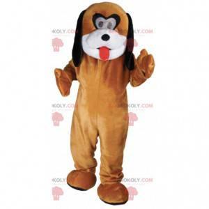 Nastavitelný hnědý bílý a černý pes maskot - Redbrokoly.com