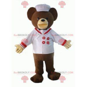 Medvěd hnědý maskot oblečený jako kuchař - Redbrokoly.com