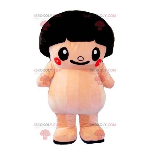 Großes rosa Sumo-Maskottchen mit einem Schüsselschnitt -