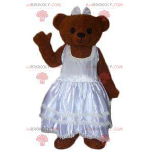 Brown teddy mascot dressed in a wedding dress - Redbrokoly.com