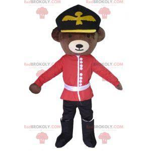 Braunbärenmaskottchen gekleidet im englischen Soldatenoutfit -