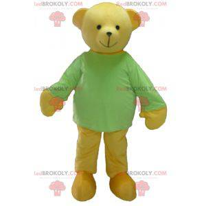 Maskot žlutý medvídek se zeleným tričkem - Redbrokoly.com