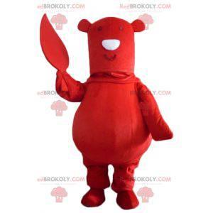 Big red bear mascot with a leaf in hand - Redbrokoly.com