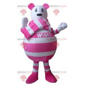 Maskotka myszy w biało-różowe paski - Redbrokoly.com