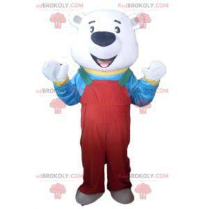 Maskot ledního medvěda s červeným overalem a tričkem -