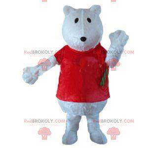 Wolf polar bear mascot with a red t-shirt - Redbrokoly.com
