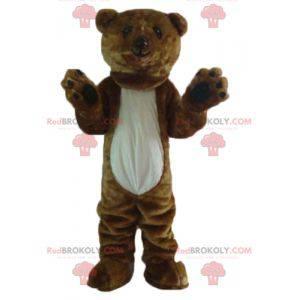 Obří měkký a chlupatý hnědý a bílý medvěd maskot -