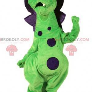 Śliczna i kolorowa maskotka smok zielony i fioletowy -