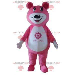 Růžový a bílý medvídek maskot - Redbrokoly.com
