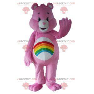 Mascota Pink Care Bear con un arco iris en el estómago -