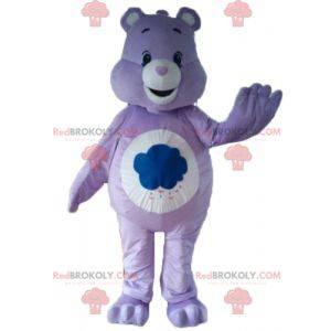Mascota de oso de cuidado púrpura y blanco con una nube -