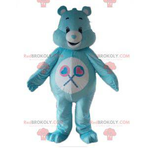 Blue and white care bear mascot with lollipops - Redbrokoly.com