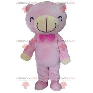 Pink and beige teddy bear mascot - Redbrokoly.com
