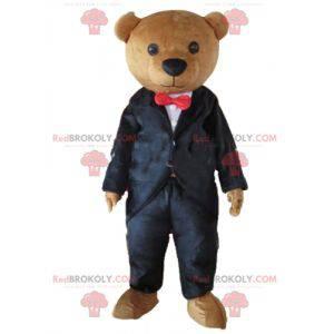 Brown teddy bear mascot dressed in a black costume -