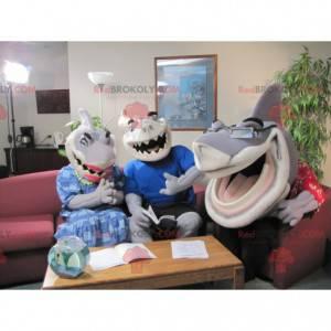 3 velmi expresivní a vtipní maskoti šedých a bílých žraloků -