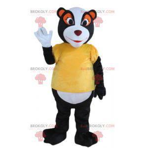 Schwarzes weißes und orange Waschbärpolecot-Maskottchen -