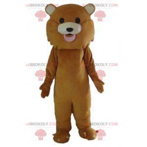 Giant and cute brown tiger lion mascot - Redbrokoly.com