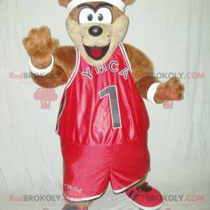 Brown teddy bear mascot in red sportswear - Redbrokoly.com