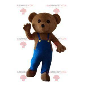 Maskot medvídek s modrým overalem - Redbrokoly.com