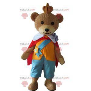 Medvěd hnědý maskot oblečený v barevné královské oblečení -