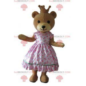 Maskot medvěda v růžových šatech princezny s korunou -