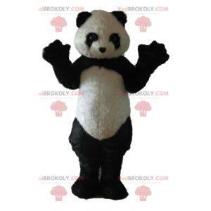 Černá a bílá panda maskot všechny chlupaté - Redbrokoly.com