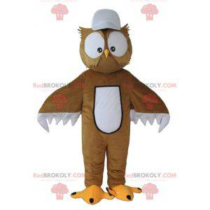 Brown and white owl mascot with big eyes - Redbrokoly.com
