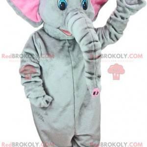 Šedý a růžový maskot slona s modrýma očima - Redbrokoly.com