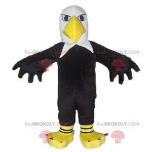Gigantisk svart hvit og gul ørnemaskot - Redbrokoly.com
