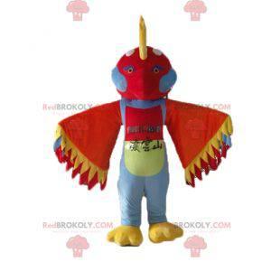 Mascotte uccello multicolore con piume sulla testa -