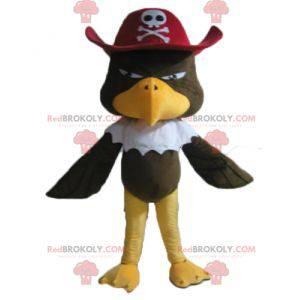 Hnědý orel maskot s pirátskou čepicí - Redbrokoly.com