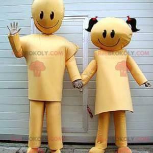 2 Maskottchen des goldenen Jungen- und Mädchenpaares -