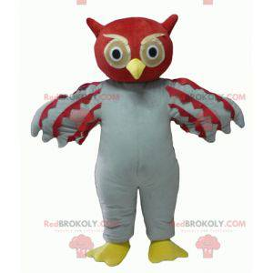 Maskot obří červené a bílé sovy - Redbrokoly.com