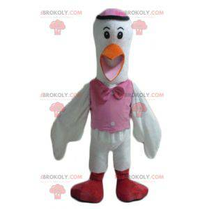 Stork mascot white orange pink and red - Redbrokoly.com