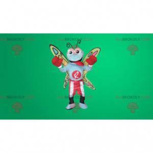 Mascota mariposa colorida en ropa de boxeo - Redbrokoly.com