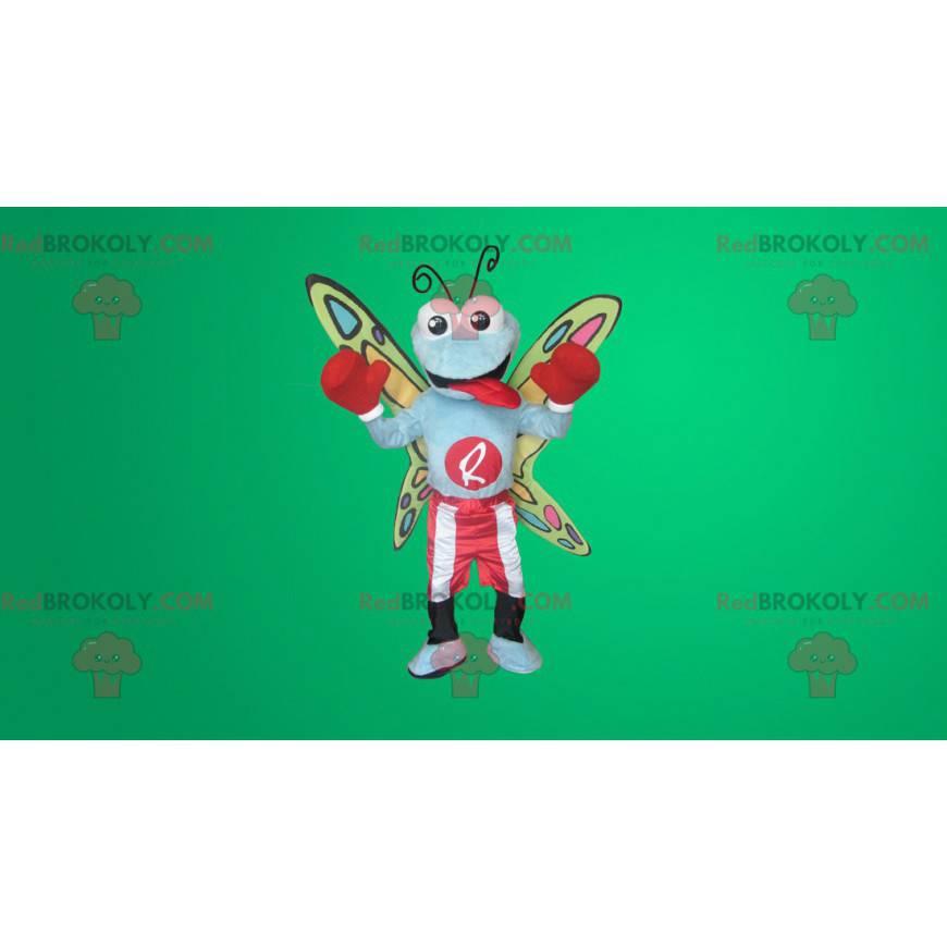 Barevný motýl maskot v boxerském oblečení - Redbrokoly.com