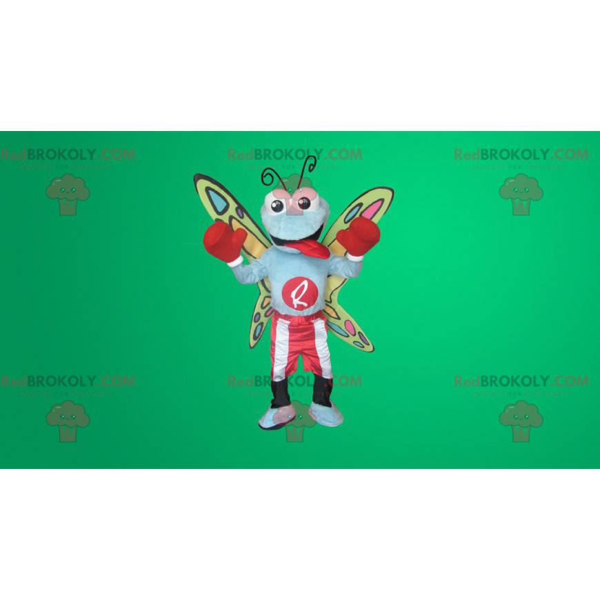 Colorful butterfly mascot in boxing clothes - Redbrokoly.com