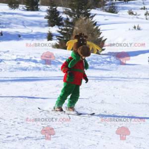 Hnědý sobí maskot se žlutým parohem - Redbrokoly.com