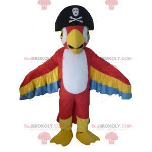 Maskot papoušek trikolóra s pirátskou čepicí - Redbrokoly.com
