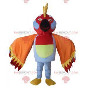Mehrfarbiges Vogelmaskottchen mit Federn auf dem Kopf -