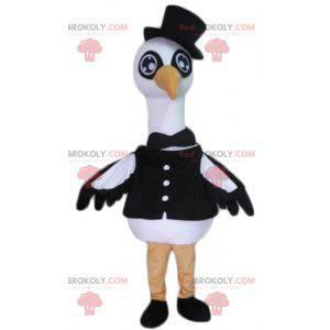 Grande mascote cisne-cegonha-pássaro preto e branco -
